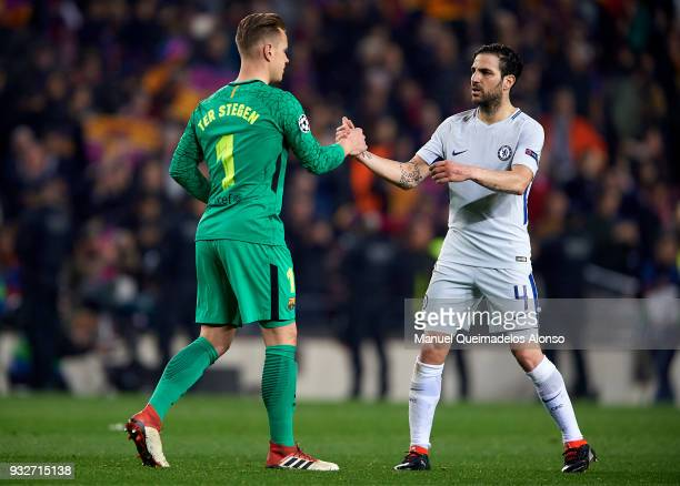 Ter Stegen goalkeeper of Barcelona greets Cesc Fabregas of Chelsea after the UEFA Champions League Round of 16 Second Leg match between FC Barcelona...