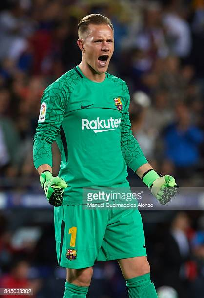 Ter Stegen of Barcelona celebrates during the La Liga match between Barcelona and Espanyol at Camp Nou on September 9 2017 in Barcelona Spain