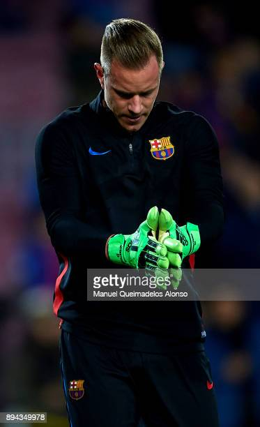 Ter Stegen of Barcelona during the warmup before the La Liga match between Barcelona and Deportivo de La Coruna at Camp Nou on December 17 2017 in...