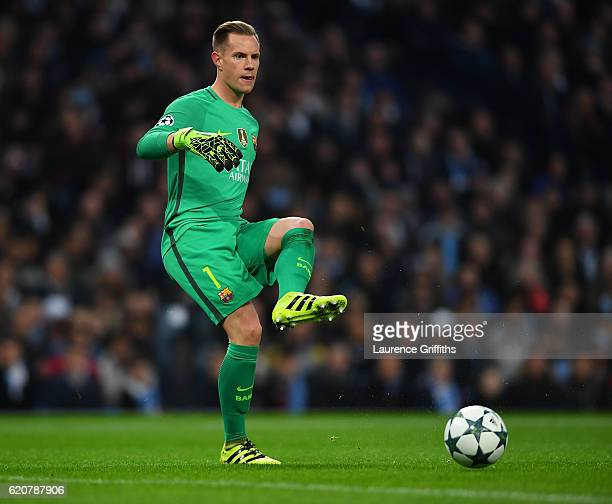 Ter Stegen of Barcelona in action during the UEFA Champions League match between Manchester City FC and FC Barcelona at Etihad Stadium on November 1...