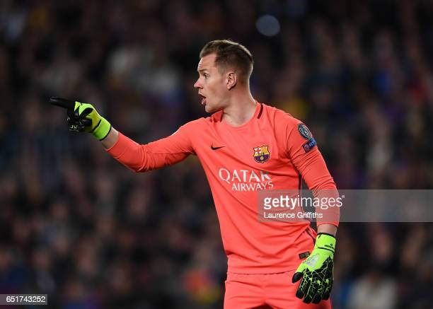 Ter Stegen of Barcelona in action during the UEFA Champions League Round of 16 second leg match between FC Barcelona and Paris SaintGermain at Camp...