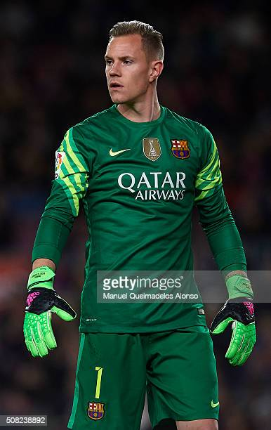 Ter Stegen of Barcelona looks on during the Copa del Rey Semi Final first leg match between FC Barcelona and Valencia CF at Nou Camp on February 03...