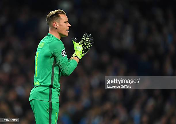 Ter Stegen of Barcelona looks on during the UEFA Champions League match between Manchester City FC and FC Barcelona at Etihad Stadium on November 1...