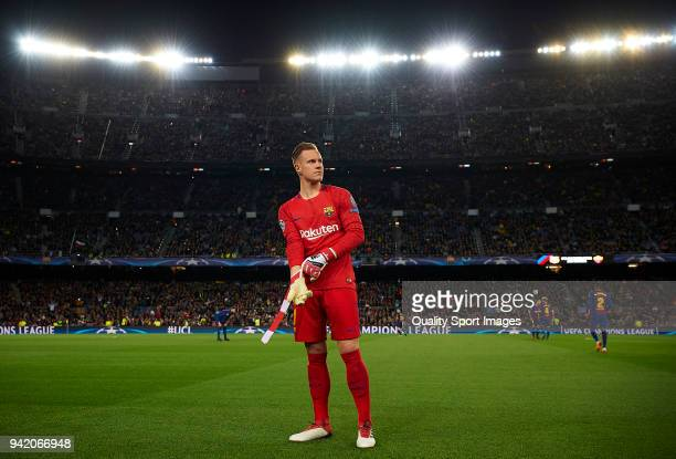 Ter Stegen of Barcelona prior the UEFA Champions League Quarter Final first leg match between FC Barcelona and AS Roma at Camp Nou on April 4 2018 in...