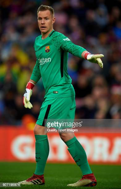 Ter Stegen of Barcelona reacts during the La Liga match between FC Barcelona and Atletico de Madrid at Camp Nou on March 4 2018 in Barcelona Spain