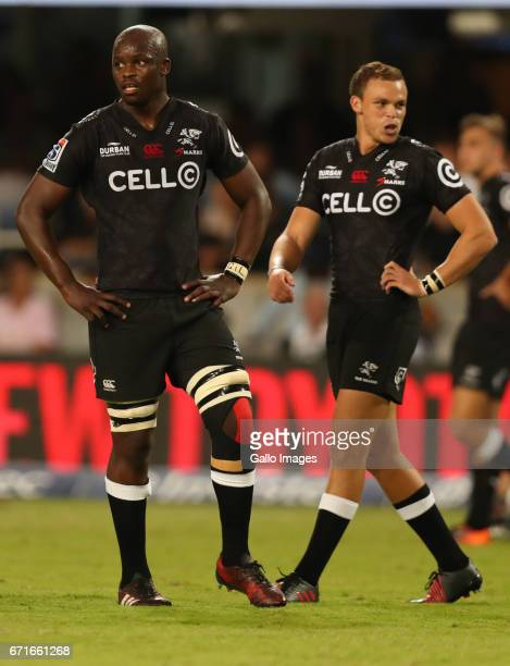 Tera Mtembu of the Cell C Sharks with Curwin Bosch during the Super Rugby match between Cell C Sharks and Rebels at Growthpoint Kings Park on April...