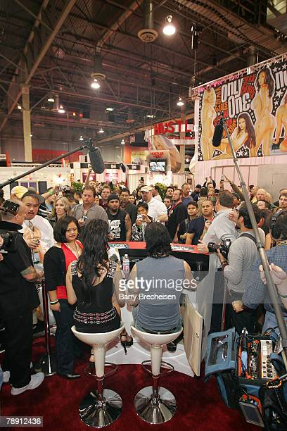 Tera Patrick and musician Dave Navarro at the Teravision booth in the Sands Expo Center at the 2008 AVN Adult Entertainment Expo on January 11 2007...