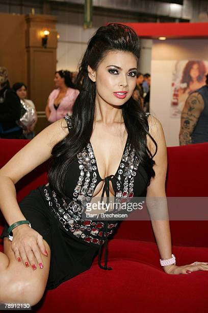 Tera Patrick at the Teravision booth in the Sands Expo Center at the 2008 AVN Adult Entertainment Expo on January 11 2007 in Las VegasNevada