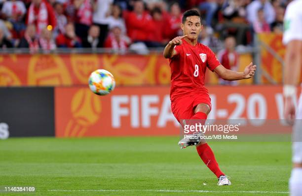 Terai Bremond of Tahiti takes a shot on goal during the FIFA U20 World Cup match between Poland and Tahiti on May 26 2019 in Lodz Poland