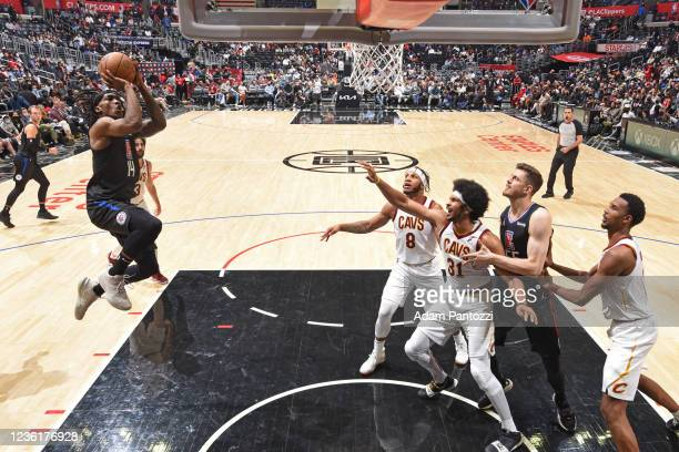 Terance Mann of the LA Clippers shoots the ball against the Cleveland Cavaliers on October 27, 2021 at STAPLES Center in Los Angeles, California....