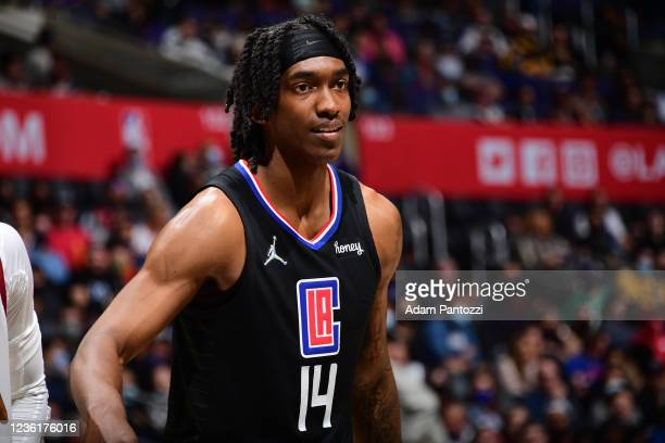 Terance Mann of the LA Clippers smiles against the Cleveland Cavaliers on October 27, 2021 at STAPLES Center in Los Angeles, California. NOTE TO...