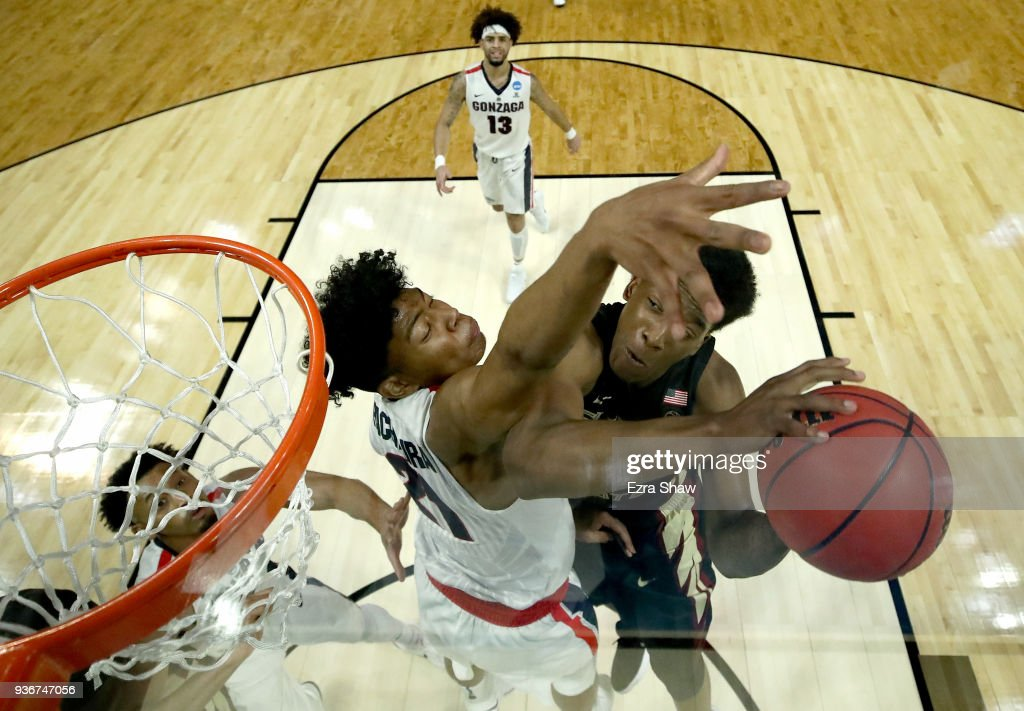 Terance Mann #14 of the Florida State Seminoles goes up for a shot against Rui Hachimura #21 of the Gonzaga Bulldogs in the 2018 NCAA Men's Basketball Tournament West Regional at Staples Center on March 22, 2018 in Los Angeles, California.
