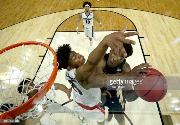 Terance Mann of the Florida State Seminoles goes up for a shot against Rui Hachimura of the Gonzaga Bulldogs in the 2018 NCAA Men's Basketball...