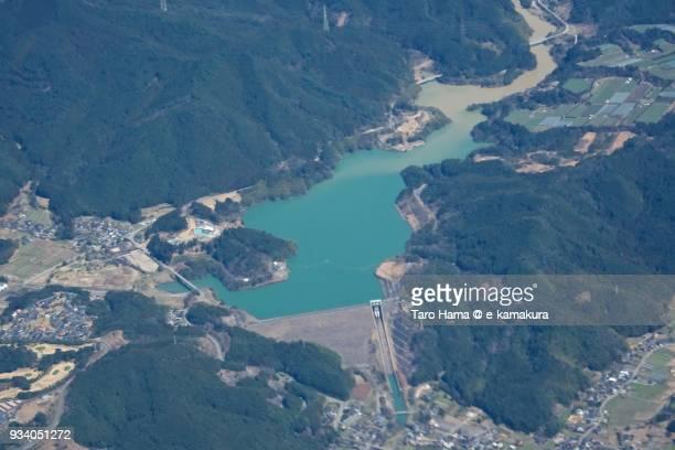 Terauchi Dam in Asakura city in Fukuoka prefecture in Japan daytime aerial view from airplane