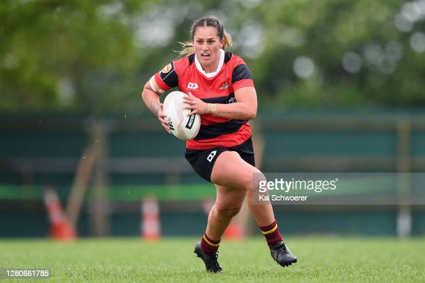 Terauoriwa Gapper of Canterbury charges forward during the round 7 Farah Palmer Cup match between Canterbury and Tasman at Rugby Park on October 17,...