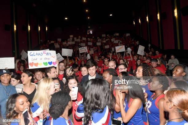 "Terayle Hill, Alexandra Shipp, Greg Berlanti, and Nick Robinson with movie audience at ""Love, Simon"" Atlanta Fan Screening and Q&A at Regal Atlantic..."