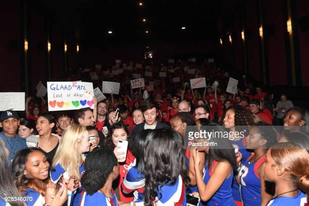 "Terayle Hill, Alexandria Shipp, Greg Berlanti, and Nick Robinson with movie audience at ""Love, Simon"" Atlanta Fan Screening and Q&A at Regal Atlantic..."