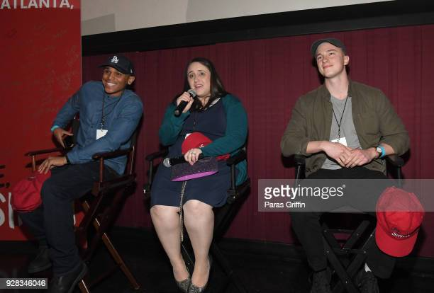 """Terayle Hill, Becky Albertalli, and Drew Starkey onstage at """"Love, Simon"""" Atlanta Fan Screening and Q&A at Regal Atlantic Station on March 6, 2018 in..."""