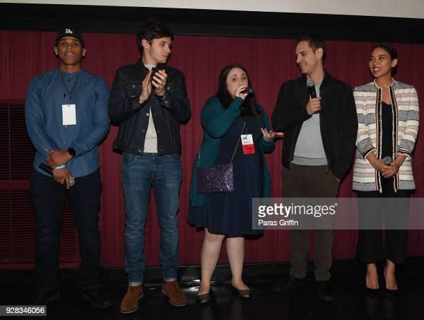 "Terayle Hill, Nick Robinson, Becky Albertalli, Greg Berlanti and Alexandra Shipp onstage at ""Love, Simon"" Atlanta Fan Screening and Q&A at Regal..."