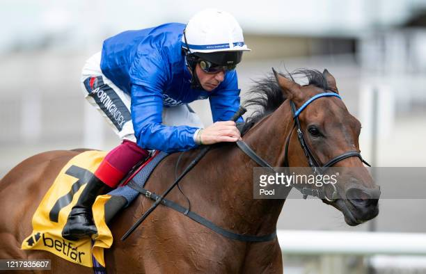 Terebellum ridden by Frankie Dettori wins the Betfair Dahlia Fillies Stakes at Newmarket Racecourse on June 06, 2020 in Newmarket, England.