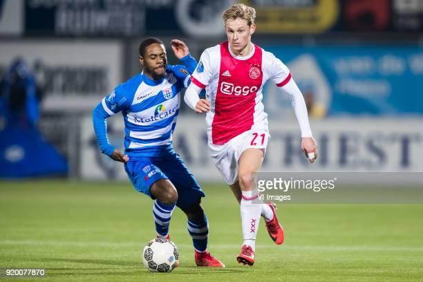 Terell Ondaan of PEC Zwolle Frenkie de Jong of Ajax during the Dutch Eredivisie match between PEC Zwolle and Ajax Amsterdam at the MAC3Park stadium...