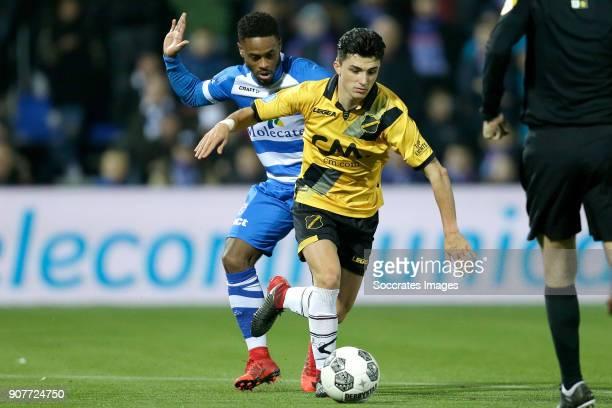 Terell Ondaan of PEC Zwolle Manu Garcia Alonso of NAC Breda during the Dutch Eredivisie match between PEC Zwolle v NAC Breda at the MAC3PARK Stadium...