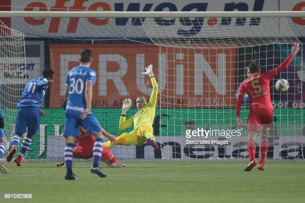 Terell Ondaan of PEC Zwolle scores the first goal to make it 1-0 during the Dutch Eredivisie match between PEC Zwolle v AZ Alkmaar at the MAC3PARK...