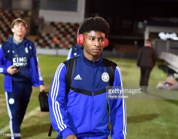 Terell Pennant of Leicester City arrives before the Leasingcom quarter final match between Newport County and Leicester City U21 at Rodney Parade on...
