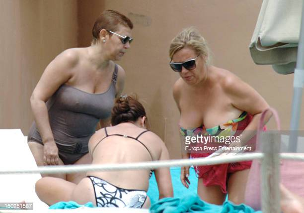 Terelu Campos and her mother Maria Teresa Campos are sighting on August 12 2012 in Marbella Spain