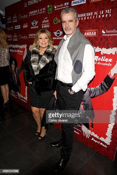Terelu Campos and Jose VAlenciano attend Miguel de Molina al Desnudo premiere at the Santa Isabel Theater on November 4 2014 in Madrid Spain