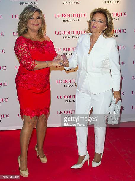 Terelu Campos and Maria Teresa Campos attend Terelu's birthday party at Le Boutique on September 23 2015 in Madrid Spain