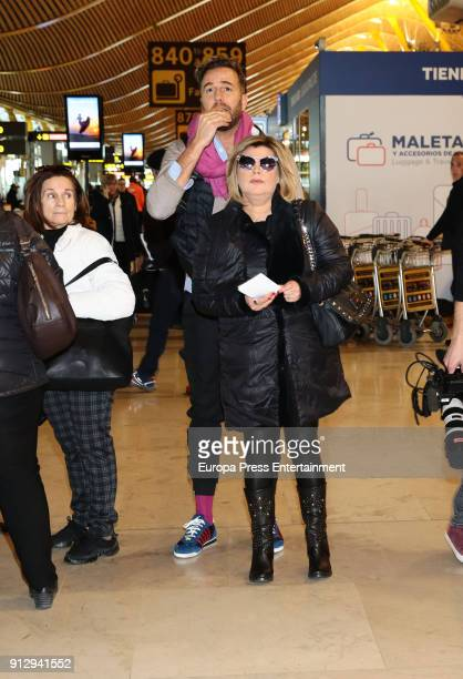 Terelu Campos and Raul Prieto are seen at the airport to travel to Buenos Aires where they are going to film a new season of 'Las Campos' tv show on...