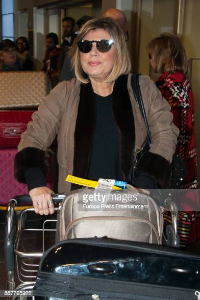 Terelu Campos is seen at the airport coming back from New York and Miami where she was filming a new season of 'Las Campos' tv show o is seen on...
