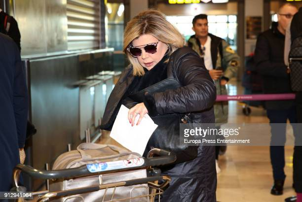 Terelu Campos is seen at the airport to travel to Buenos Aires where they are going to film a new season of 'Las Campos' tv show on January 31 2018...