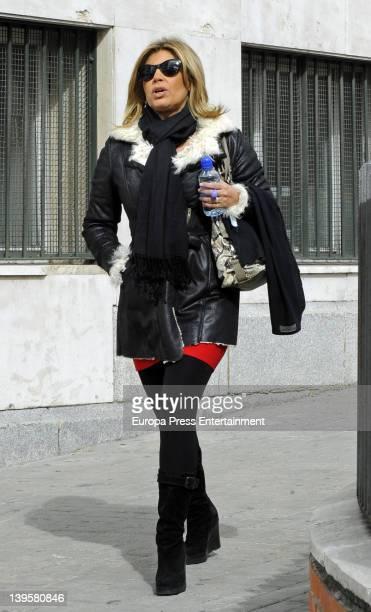 Terelu Campos is seen leaving hospital on February 21 2012 in Madrid Spain