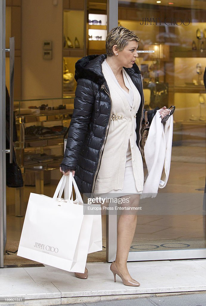 Terelu Campos is seen shopping on January 16, 2013 in Madrid, Spain.