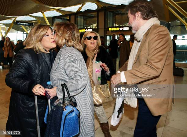 Terelu Campos Teresa Campos Carmen Borrego and Edmundo Arrocet are seen at the airport to travel to Buenos Aires where they are going to film a new...