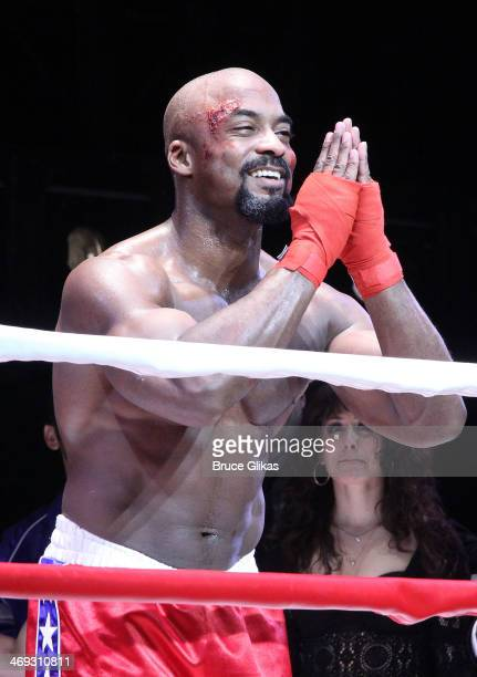 Terence Archie as 'Apollo Creed' celebratec during the first curtain call for the new musical 'Rocky' on Broadway at The Winter Garden Theater on...