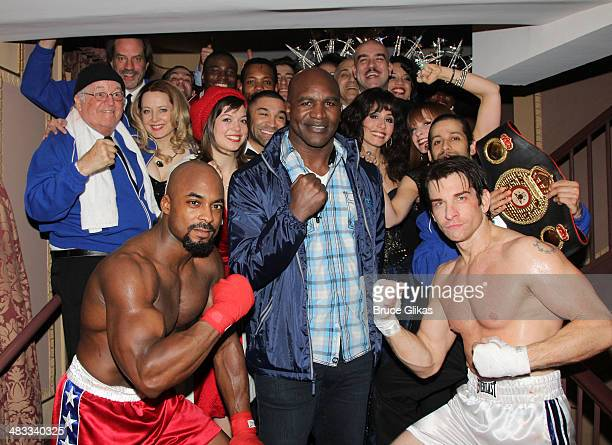Terence Archie who plays 'Apollo Creed' Former Undisputed World Champion Evander Holyfield and Andy Karl who plays 'Rocky' pose with the cast...