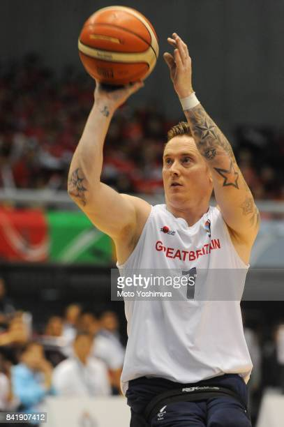 Terence Bywater of Great Britain in action during the Wheelchair Basketball World Challenge Cup match between Great Britain and Japan at the Tokyo...