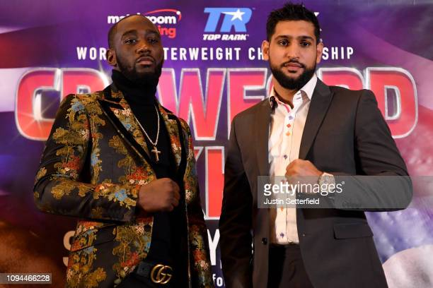 Terence Crawford and Amir Khan face up during a Terence Crawford and Amir Khan Press Conference on January 15 2019 in London England Amir Khan has...
