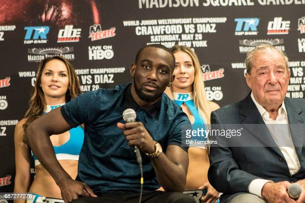 Terence Crawford and Bob Arum answer questions during the Final Press Conference at Madison Square Garden May 18 2017 in New York City Terence...
