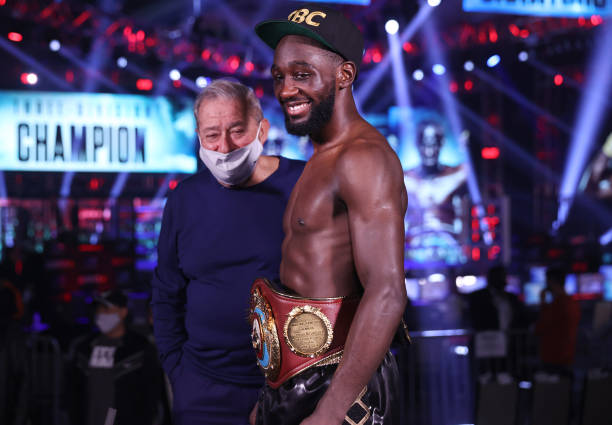 Terence Crawford and Bob Arum post fight after his victory over Kell Brook for the WBO welterweight title at the MGM Grand Conference Center on...