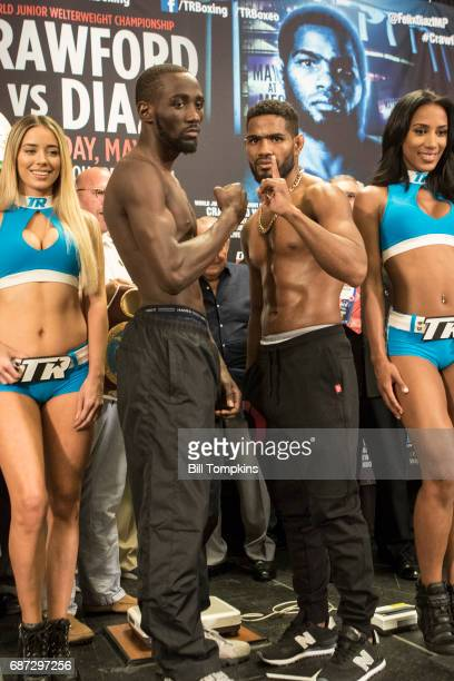 Terence Crawford and Felix Diaz pose at Madison Square Garden May 19 2017 in New York City Terence Crawford and Felix Diaz will fight May 20 for the...