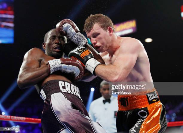 Terence Crawford and Jeff Horn battle in the third round of their WBO welterweight title fight at MGM Grand Garden Arena on June 9 2018 in Las Vegas...
