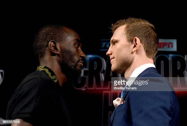 Terence Crawford and WBO welterweight champion Jeff Horn face off during a news conference at MGM Grand Hotel Casino on June 7 2018 in Las Vegas...
