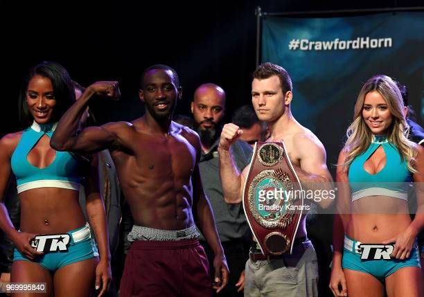 Terence Crawford and WBO welterweight champion Jeff Horn face off during their official weighin at MGM Grand Garden Arena on June 8 2018 in Las Vegas...