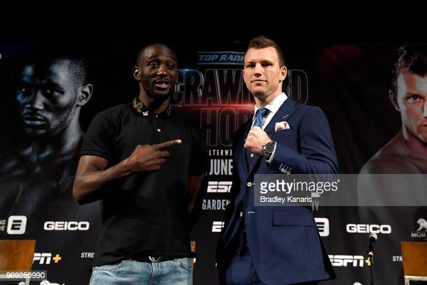 Terence Crawford and WBO welterweight champion Jeff Horn pose during a news conference at MGM Grand Hotel Casino on June 7 2018 in Las Vegas Nevada...