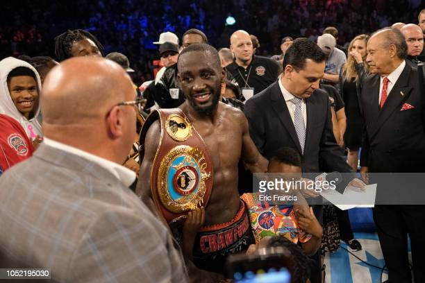 Terence Crawford answers questions after defeating Jose Benavidez at CHI Health Center on October 13 2018 in Omaha Nebraska Crawford won the WBO...