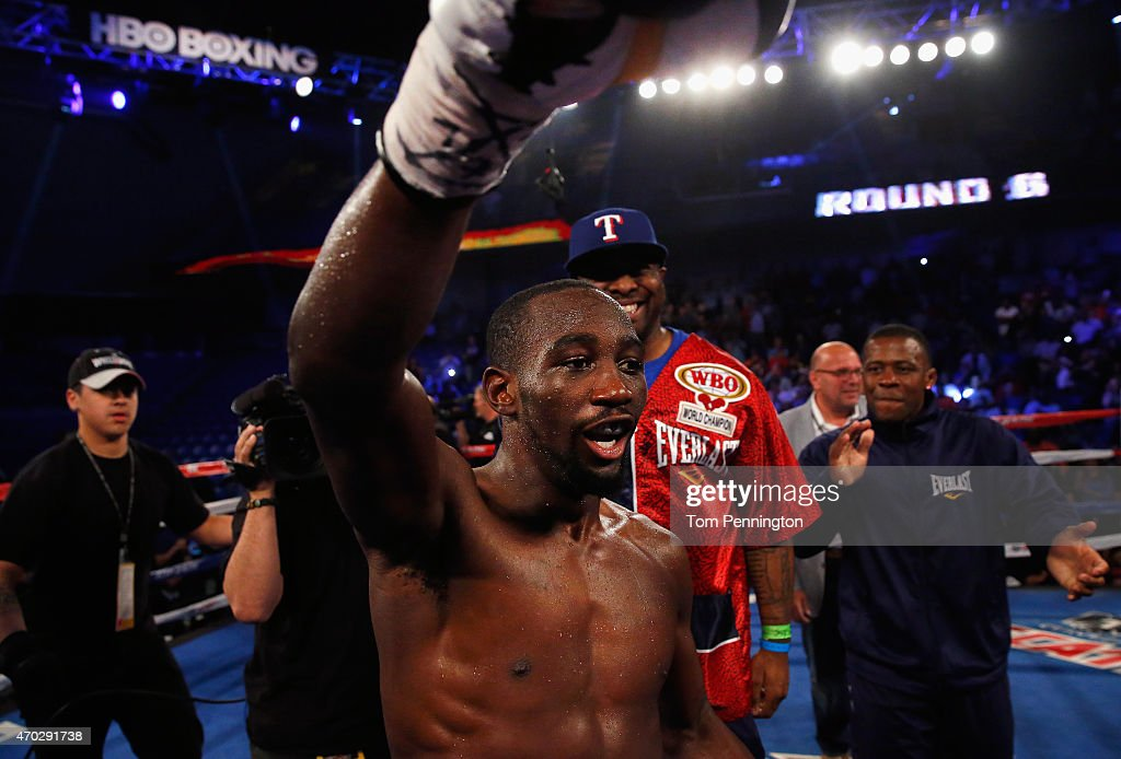 Terence Crawford celebrates after beating Thomas Dulorme of Puerto Rico in the sixth round in their WBO Jr. Welterweight Title Bout on April 18, 2015 at College Park Center in Arlington, Texas.